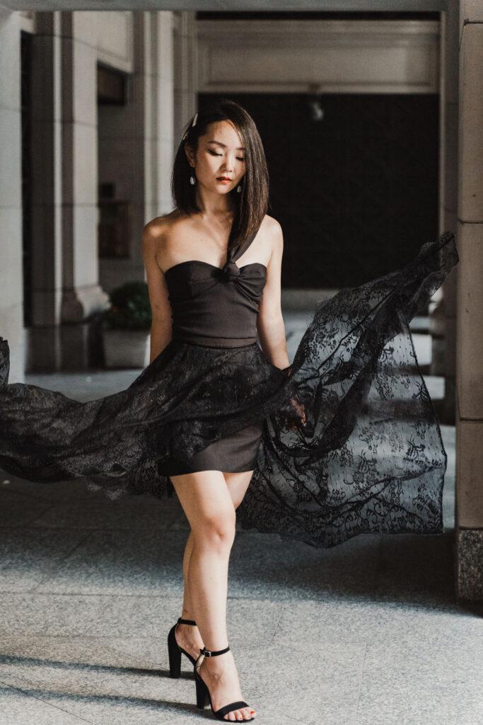 Woman twirls in dress