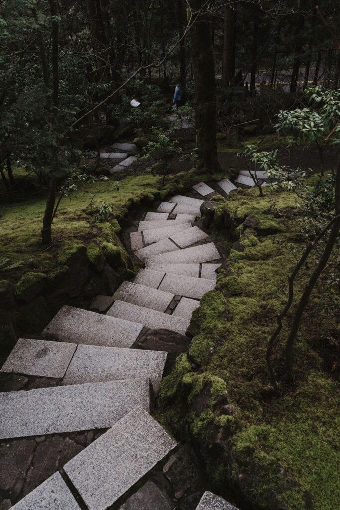 Steps in the Japanese Garden in Portland Oregon